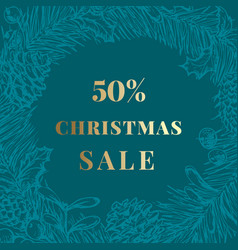 christmas sale discount hand drawn sketch pine vector image