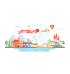 City with amusement park - modern flat design vector