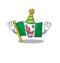 Clown nigeria flag folded in cartoon drawer vector