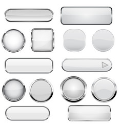 Collection of 3d buttons white glass and plastic vector