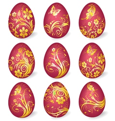 collection of easter eggs with gold ornaments vector image vector image