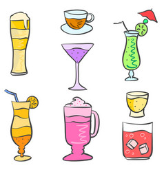 collection stock drink style doodle set vector image