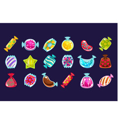 Collection various colorful candies in glossy vector