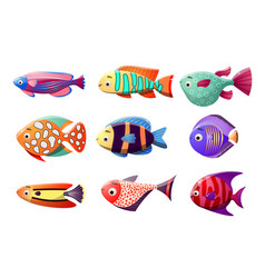 Coral reef fish set raster in the vector