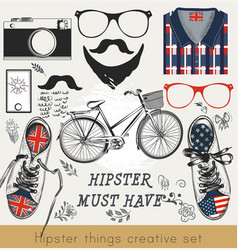 creative set of hipster must have vector image