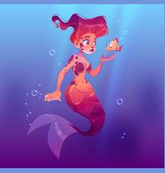 cute mermaid with little fish underwater in sea vector image