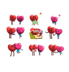 cute smiling red and pink hearts characters set vector image