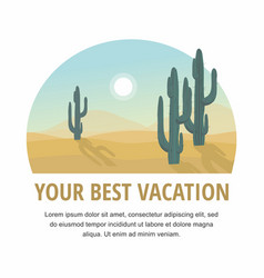 desert landscape with cactus tree vector image