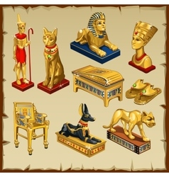 Egyptian set statues made gold eight items vector