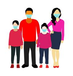 Family wear medical mask vector