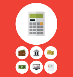Flat icon gain set billfold cash calculate vector