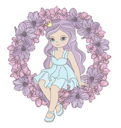 Flower princess birthday party cartoon vector