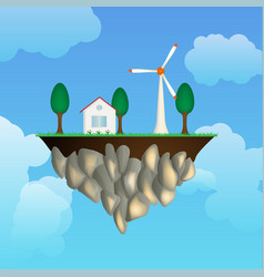 flying isle with house an wind generator vector image