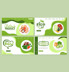 Fresh products and organic meal websites set vector