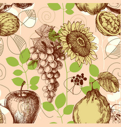 fruits seamless pattern retro style vector image