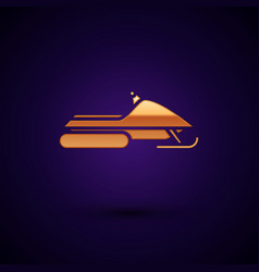 Gold snowmobile icon isolated on dark blue vector