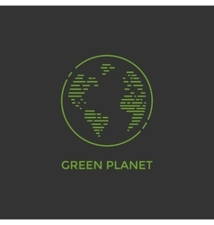 Green planet line vector image vector image