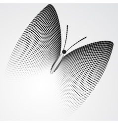 Halftone butterfly black and white abstract figure vector