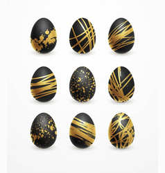 Happy easter realistic black and golden shine vector