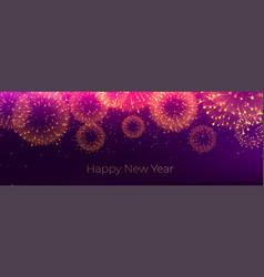 Happy new year firework celebration banner design vector