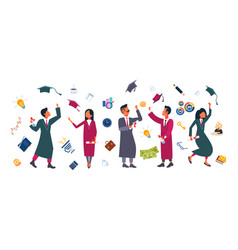 happy students group throwing their hats in air vector image