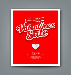 Happy Valentines day sale on red background vector
