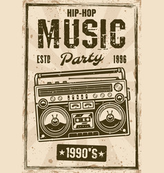 hip-hop music party vintage poster with boombox vector image