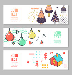 horizontal banners set memphis style geometric vector image