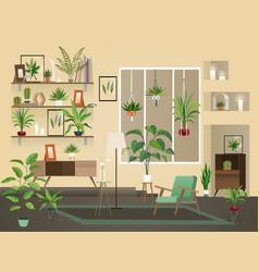 indoor flowers into room urban home interior vector image