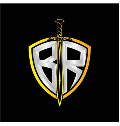 Initials b r is a shield decorated vector