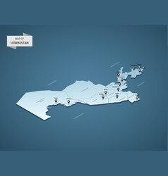 Isometric 3d uzbekistan map concept vector