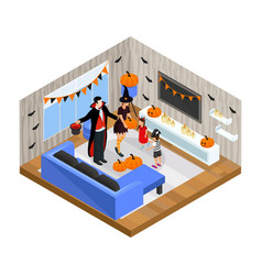 isometric happy halloween celebration concept vector image