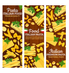 Italian pasta banners with italy pastry food vector