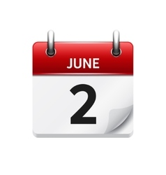 June 2 flat daily calendar icon Date and vector