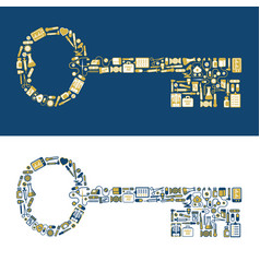 key shape made from medical icons vector image