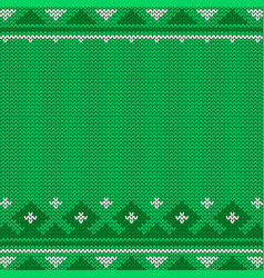 Knitted seamless green christmas pattern with vector