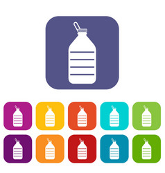 Large bottle of water icons set vector