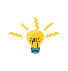 light bulb with yellow glowing rays cartoon vector image