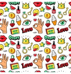 Lips Hands Cosmetics Fashion Seamless Pattern vector image vector image