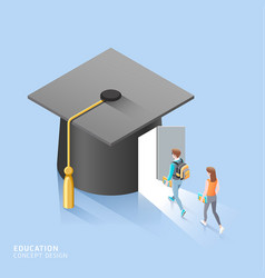 male and female students walk to door the vector image