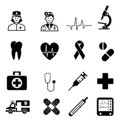 medical icons sign in flat design medicine vector image