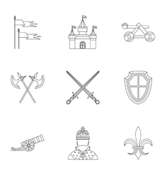 Military armor icons set outline style vector