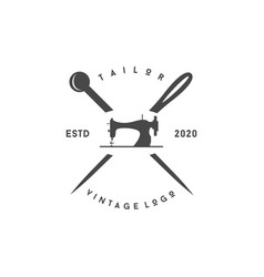 minimalist luxury vintage tailor logo design vector image