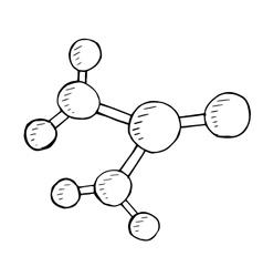 molecular doodle hand drawn vector image
