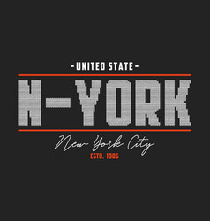 new york t-shirt design with knitted texture vector image