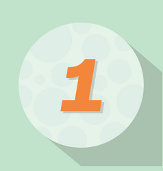 number one 1 with flat style in circle with long vector image