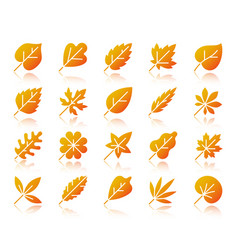organic leaf simple gradient icons set vector image