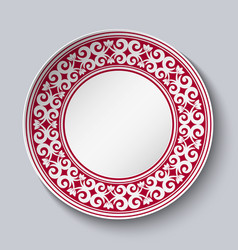 Ornamental dish with red pattern in the style of vector