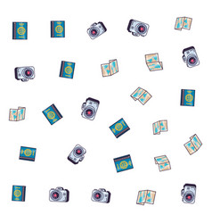 Pattern camera with paper map and passport vector