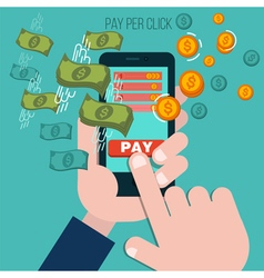 Pay Per Click Mobile Advertising Concept vector image